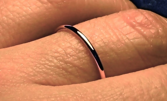 thin rose gold wedding band/ thin rose gold ring/ 14k solid gold band/ fully full round halo ring/ 1.3 mm wedding band/ stacker spacer ring