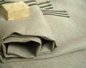 Pure Linen Bath Sheet - Grey with Black stripes Organic Linen Bath Towel.