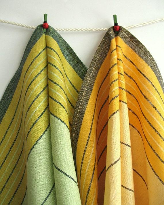 Set of 2 Organic Linen Tea Towels. Yellow and Green Striped Linen Kitchen Towels. Marigold Linen Dish Towel. Gift Ideas. Summer trends