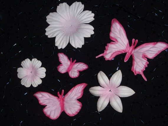 6pc LT PINK Butterflies and Flowers Pack Eco-Friendly Mulberry Paper