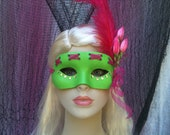 Green and pink, Spring mask, Prom mask,  Masquerade Mask, Mardi Gras, bachelorette party