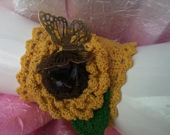 Cuff Bracelet, Hand Crochet Bracelet, Crochet Cuff, Cuff Bracelet, One of a Kind, Hand Crochet, Bracelet