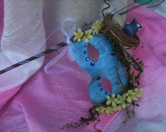 Blue Bird, Bird Nest, Forest Nymph, Woodland, Masquerade Mask, OOAK, One of a Kind