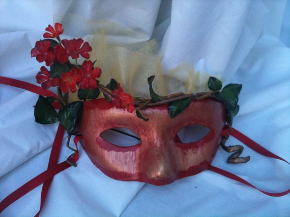 Asian Inspired - Gold and Red Masquerade Mask