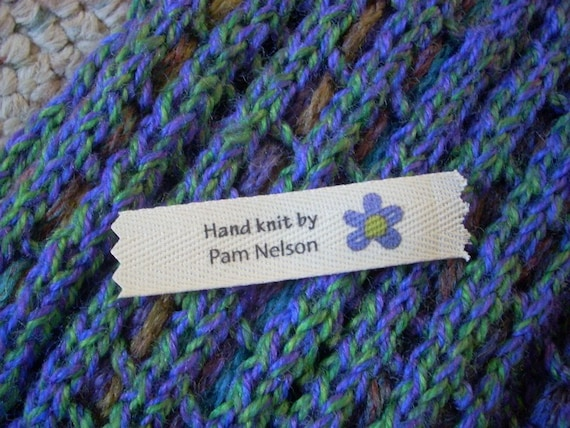 Knitting Labels Personalized : Personalized knitting labels knit flower blue