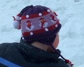 Children's  Purple Snowman hat with earflaps