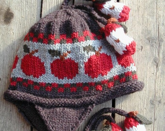 Child's Ear flap Hat - Grey with Apples