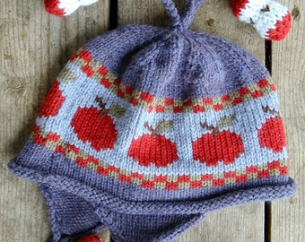 Children's Ear Flap Hat   Apples and Cores Blue