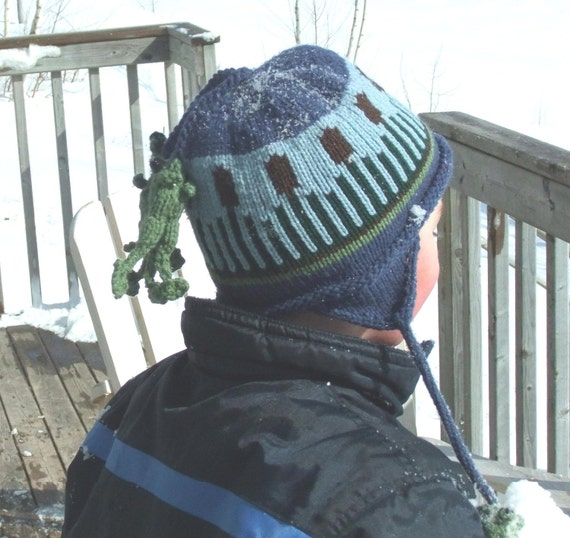 Children's Blue Ear Flap Hat -  Cattails and Frogs