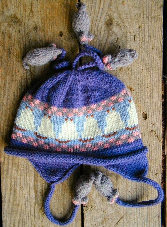 Children's Blue Ear Flap Hat - Cat and Mouse