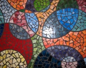 """Custom Stained Glass Mosaic Round Table Top Multicolor colorful """"Circles"""""""