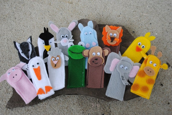 Felt FINGER PUPPET ANIMALS  farm, zoo, pretend play , Extra puppets for busy book