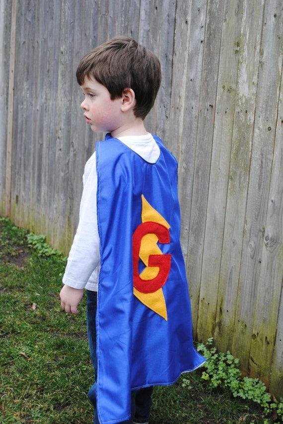 Custom initial SUPER HERO CAPE and mask costume