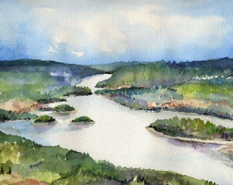 Peace River Alberta Watercolor Landscape Painting - Digital Photo Print