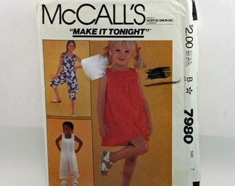 Vintage 1980s Sewing Pattern, McCall's 7980, Girl's Dress and Jumpsuit,  Size 7