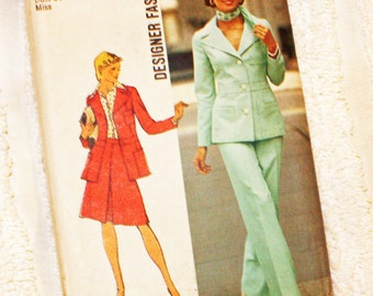 Vintage 1970s, Sewing Pattern,Simplicity 6175, size 12, jacket, skirt and pants, international shipping, Uncut, FF