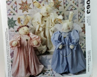 1990s, Sewing Pattern, McCall's Craft's 2063, Angel Bunnies, UNCUT