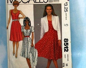 Vintage 1980s, Sewing Pattern, McCall's 8512, Misses Size 10, Jacket and Dress Pattern