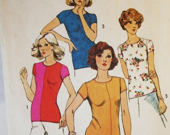Vintage 1970s, Sewing Pattern,  Simplicity 6289, Pullover tops, Misses' Size 10, Old2NewMemories