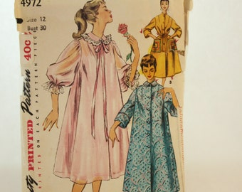 Vintage 1950s, Sewing Pattern, Simplicity 4972, Misses' Size 12, Duster, Negligee and Housecoat, OLD2NEWMEMORIES