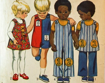 Vintage 1970s, Sewing Pattern, Simplicity 9640, Toddlers' Size 1, Jumpsuit in Two Lengths, Jumper and Pants, International Shipping