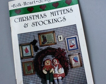 Christmas in July, Vintage 1980s, Sewing Pattern, Christmas Mittens & Stockings,Cross Stitch and Applique Book 1 by Folk Heart Designs