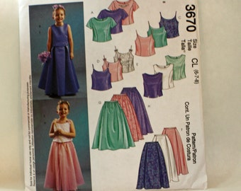 McCall's 3670, Sewing Pattern, Girl's Lined Tops and Floor Length Skirts, Girl's Size 6, 7 and 8, UNCUT