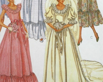 Vintage 1980s,  McCall's 7894, Brides' and Bridemaids' Gown, Size 8