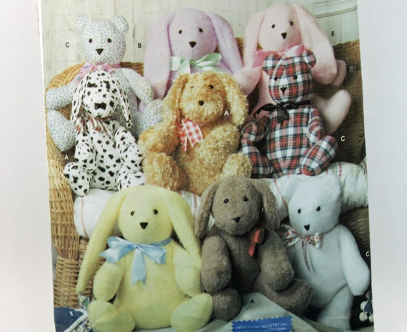 Dog, Rabbit and Bear Sewing Pattern, Simplicity Crafts 9524,  Approximately 14 inches,  UNCUT