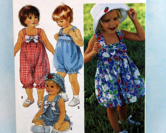 1993, Simplicity 8452, Toddler's Size 1-4, Romper In Two Lengths, Dress, Vest and Hat Pattern, UNCUT