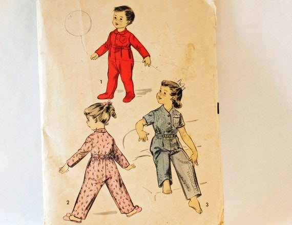 Vintage 1940s, Advance 7813, Sewing Pattern,  Child's Two Piece Sleeper or Pajamas, Size 2, International Shipping