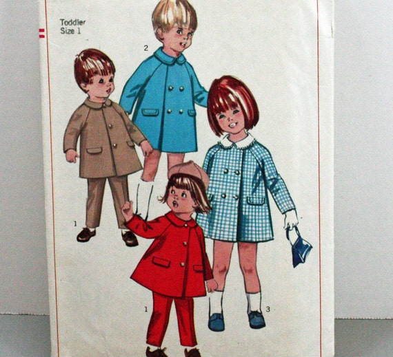 Vintage 1960s, Sewing Pattern, Toddlers Size 1, Coat With Detachable Collar and Slacks, John John Style Coat,  International Shipping