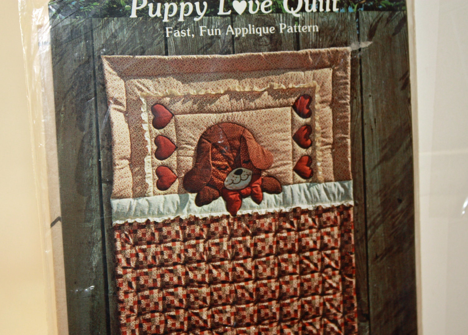 Vintage 1970s Sewing Pattern Puppy Love Crib Size Quilt