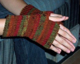 Autumn Stripes Fingerless Gloves