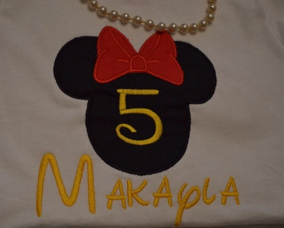 Rush Fee Added----Minnie Mouse Applique Personalized Shirt with Number - Disney Trips, and for the Love of Minnie