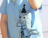 Happy Birthday Etsy - Mouse on a Tricycle with a Balloon - Blue American Apparel TShirt - Toddler Available in size 2, 4, 6, 8, 12