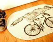 Fox on a Bike Natural Creme White Rug - Bath Mat or Door Mat