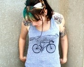 Fox on a Bicycle Racerback Tank Top - American Apparel Tri Blend Gray Heather - Available in XS, S, M, and L - darkcycleclothing