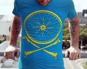 Dark Cycle Bike Wheel and Crossbones - Chartreuse Screen Print on teal American Apparel TShirt - Available in XS, S, M, L, XL and XXL