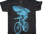 Shark on a Bike - American Apparel Toddler Tri-Blend T-Shirt - FREE SHIPPING - Available in 2, 4, 6, 8, 10 and 12