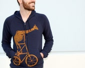 Mens BICYCLE GIRAFFE on a tall BIKE Unisex navy American Apparel Hooded Sweatshirt