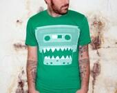 Mens CASSETTE (monster) tshirt American Apparel (Kelly Green)