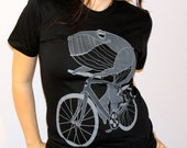 Whale on a Bike - American Apparel - Ladies - Free Shipping - Size S, M, and L