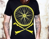 Bike Wheel and Crossbones T-Shirt - Chartreuse Bicycle Print on American Apparel TShirt - Available in XS, S, M, L, XL and XXL