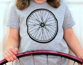 Bike Wheel Grey - Heather Gray Short Sleeve Children Toddler T-Shirt - American Apparel  - Available in 2, 4, 6, 8, 10 and 12