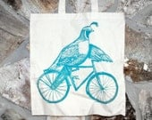 Quail on a Bike - Natural Cotton Tote Bag - COMPLIMENTARY SHIPPING