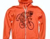 Mens BICYCLE Tshirt TIGER on a Fixie BIKE Unisex Tang Orange American Apparel Hooded Sweatshirt 50/50
