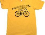 Unisex Urban FOX T Shirt bicycle american apparel xs s m l xl and xxl (Gold)