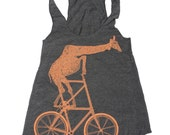 WOMENS Fixed Gear Mutant Bicycle Riding Giraffe Tank Top - American Apparel Tri-Black