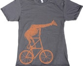 Mens URBAN GIRAFFE on tall BICYCLE T-Shirt american apparel X S S M L X L X X L (Asphalt Grey)